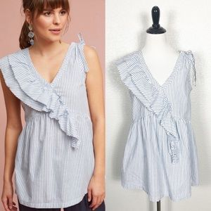 Left Of Center Eveline Striped Ruffled Top Sz S